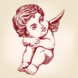 Angel or cupid, little baby greeting card hand drawn vector illustration realistic sketch Royalty Free Stock Photography