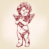 Angel or cupid, little baby holds a bouquet of flowers, greeting card hand drawn vector illustration realistic sketch. Angel or cupid, little baby holds a Royalty Free Stock Photos