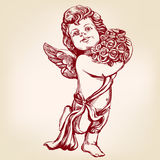 Angel or cupid, little baby holds a bouquet of flowers, greeting card hand drawn vector illustration realistic sketch. Angel or cupid, little baby holds a Stock Image