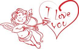 Angel Cupid med en pilbåge och en pil sköt i hjärtan som säger att jag älskar dig i vektorn till valentin dag Royaltyfri Bild