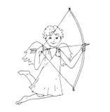 Angel Cupid med förälskelsepilen stock illustrationer