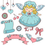 Angel and cute icons stock illustration