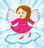 Angel dancing on cloud. Cute angel girl in pink dress dancing on a cloud Stock Image
