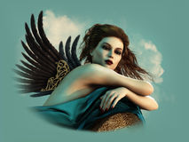 Angel with dark Wings 3d CG. 3D computer graphics of a sexy lady with wings Stock Image