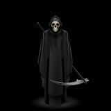 Angel of death on black. Angel of death with a scythe in his hands on black background Stock Photo