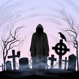 Angel of death in the cemetery. Faceless angel of death among graves in the cemetery. Twilight Stock Images