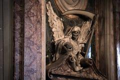 Angel of Death. Monument to Cardinal Cinzio Albertini by Carlo Bizzaccheri. Nave of San Pietro in Vincoli, Rome, Italy royalty free stock photo