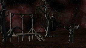 Angel of Death - Spooky Night background with Gallows, Crows and Creepy Trees Stock Photography