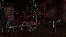 Angel of Death - Spooky Night background with Gallows, Crows, Creepy Trees and Devil head Stock Images