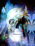 Angel and Death. Surreal composition. Winged Angel and Death Skull. Human elements were created with 3D software and are not from any actual human likenesses vector illustration