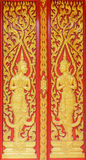 Angel decoration of buddhist temple door in surat thani,thailand Stock Image