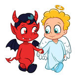 Angel and demon. Cartoon illustration of angel and demon friendship Stock Images