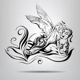 Angel and demon with elements of vegetation.Vector illustration. Angel and demon with vegetation elements in black and white version Stock Images