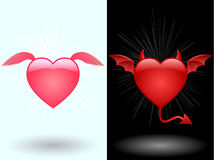 Angel and demon heart Royalty Free Stock Photos