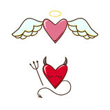Angel and demon hearts. Royalty Free Stock Photography