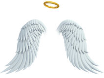 Angel design elements - wings and golden halo Royalty Free Stock Images