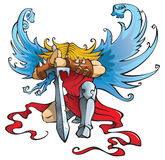 Angel the Destroyer. Angel with large sword, kneeling with open wings, vector illustration Stock Images