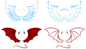 Angel and Devil. Wings, illustration Stock Images