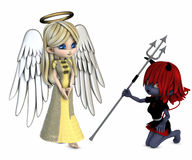 Angel and devil. 3d render of a devil and an angel Royalty Free Stock Images