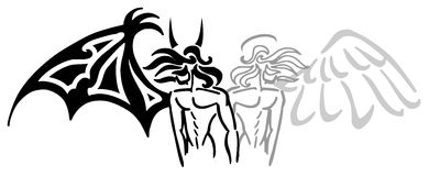 Angel and devil. Image representing a stylized angel and devil, usable, for example, as tattoo royalty free illustration