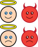 Angel and Devil. Angel and devil characters happy and sad Stock Image