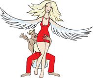 Angel and devil. Vector cartoon illustration of an angel held by demon, costume party good vs. evil, violence against women or obsessive love concept Stock Photo