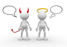 Angel and devil. Saint evil god bad. 3d people - man, person Royalty Free Stock Photos