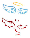 Angel and devil. Costume parts stock illustration