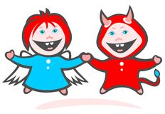 Angel and devil. Cartoon cheerful angel and devil isolated on a white background Royalty Free Stock Image