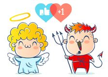 Angel and devil. Good and bad. Children are in costumes Royalty Free Stock Photography