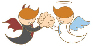 Angel and devil arm wrestling Royalty Free Stock Image