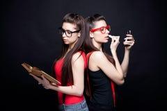 Angel And Devil - bei gemelli Immagine Stock Libera da Diritti