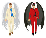 Angel And Devil. Cartoon of an angel and a devil wearing suit Royalty Free Stock Photos