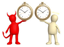 Angel and devil with clock Royalty Free Stock Photos