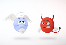 Angel and devil. 3D characters Stock Photos