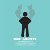 Angel And Devil Dark Side y parte positiva del ser humano libre illustration