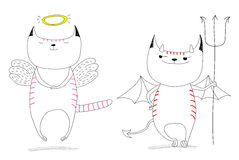 Angel and devil. Hand drawn vector doodles of cute funny angel cat and devil cat. Isolated unfilled outlines. Design concept for children - poster, postcard stock illustration