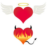 Angel/devil heart Royalty Free Stock Image