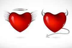Angel and Devil Hearts. Illustration of angel and devil hearts on isolated background Royalty Free Stock Photo