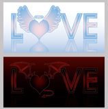 Angel and Devil hearts Royalty Free Stock Images