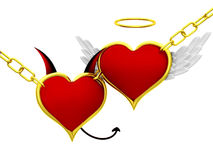 Angel and devil hearts Stock Photos