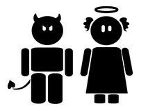 Angel & devil icon. Black icon of an angel and a devil. Vector illustration Stock Image
