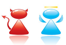 Angel and Devil Icons. Vector icons of stylized angel and devil Royalty Free Stock Photo