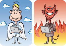 Angel and Devil with Laptop Computers. Vector illustration of Angel and Devil with Laptop Computers Royalty Free Stock Image