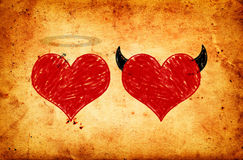 Angel and devil in love. Heart drawings on grunge paper Royalty Free Stock Images