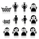 Angel, devil man and woman icon set Stock Photo