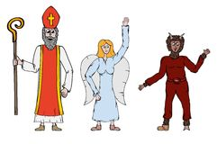 Angel, Devil and Saint Nicholaus royalty free stock photography