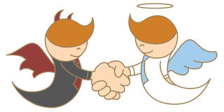 Angel and devil shaking hand Stock Image