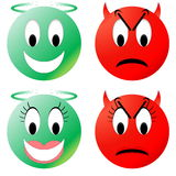 Angel and devil smiley Stock Photography