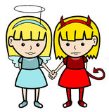 Angel devil twins Royalty Free Stock Image